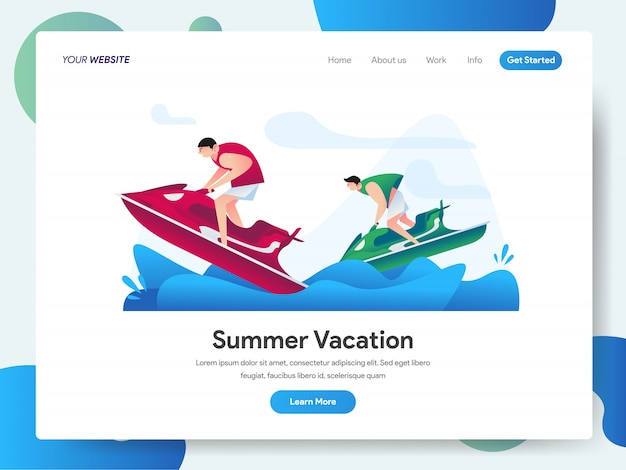 Summer vacation with jet ski water sport banner for landing page