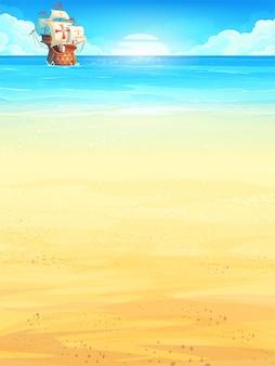 Summer vacation with sun illustration