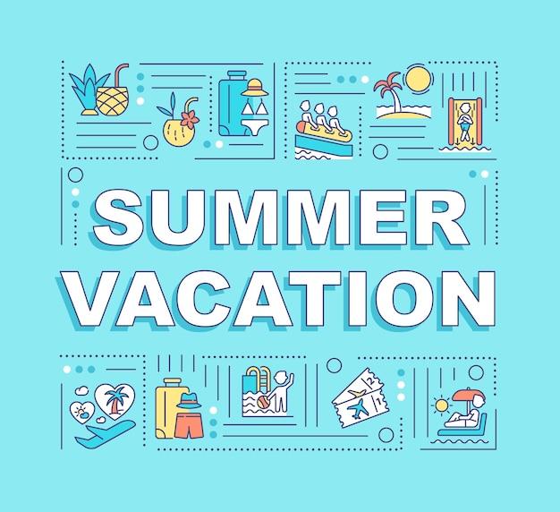 夏休みの単語の概念のバナー。休日の目的地。線形アイコンのインフォグラフィック