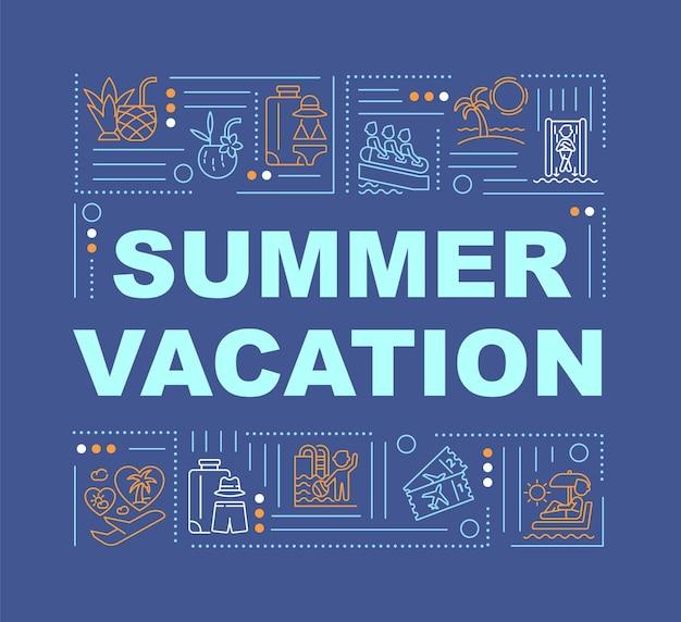夏休みの単語の概念のバナー。リラックスできるアクティビティ。熱帯の島々。青い背景に線形アイコンとインフォグラフィック。孤立した創造的なタイポグラフィ。テキストとベクトルアウトラインカラーイラスト