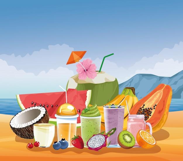 Летние каникулы и пляж в мультяшном стиле
