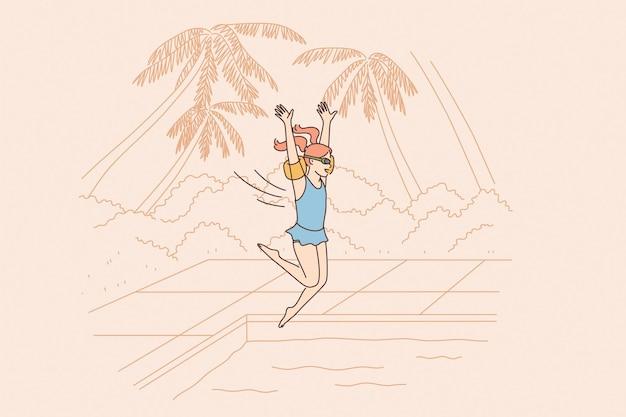 여름 휴가 및 여행 컨셉 프리미엄 벡터