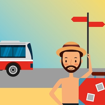 Summer vacations beard man in swimsuit with car transport
