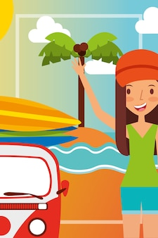 夏の休暇ビーチでミニバンを持つ美しい女性