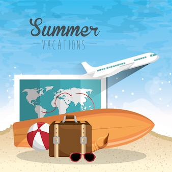 Summer vacations elements set