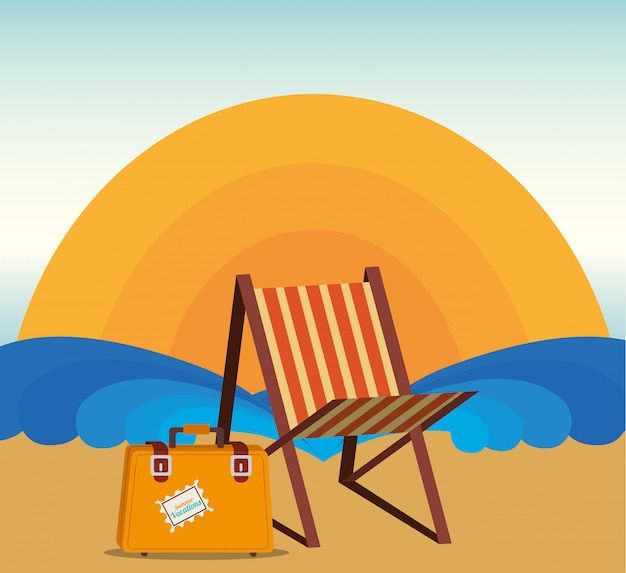 Summer and vacations, sunchair and suitcase on the beach