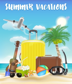 Summer vacations with bag and beach travel object