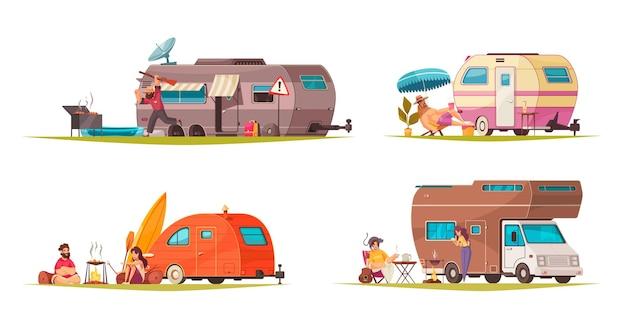 Летние каникулы с концепцией туристического трейлера, автофургона, фургона, 4 мультяшных композиции с иллюстрацией кемпинга на дороге