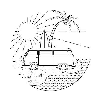 Summer van beach line illustration