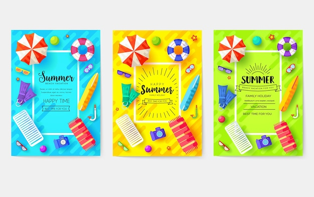 Summer vecetion time cards set. ecology template of flyear, magazines, poster, book cover, banners.