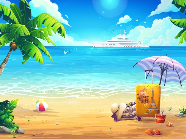 Summer vector background illustration beach and palm trees on the background of the sea and cruise liner.