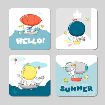 Summer vector cards set with hot air balloons