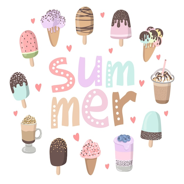 Summer vector cartoon card with funny ice cream character illustration with emotion