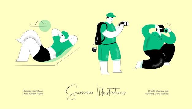 Летний вектор красочные иллюстрации набор активности людей для идентичности бренда или веб-дизайна