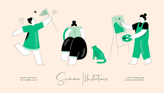 Summer vector colourful illustration set of people activity for brand identity or web design