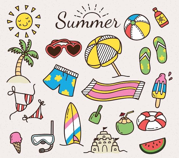 Summer vector icon in cute cartoon doodle style