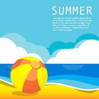 Summer vector illustration concept of happiness and holiday. text template