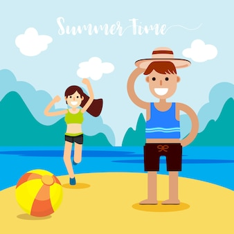 Summer vector illustration concept of happiness and holiday