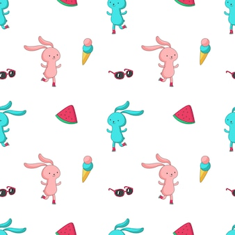 Summer vector seamless pattern with cute bunny