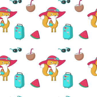 Summer vector seamless pattern with funny fox