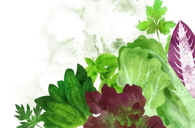 Летние овощи баннер рисованной акварельные иллюстрации