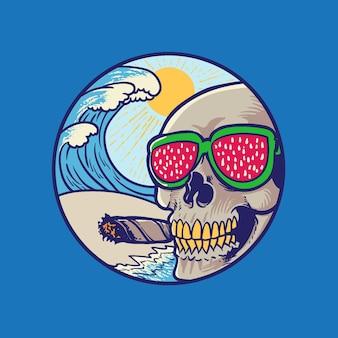 해변에서 파도와 함께 시가를 피우는 수박 안경을 쓴 여름 분위기 해골