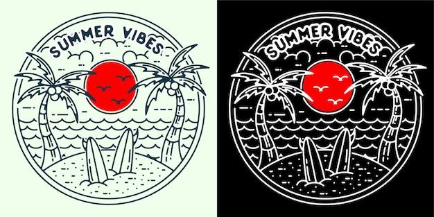 로고 배지 문신 스티커 또는 빈티지 레트로용 여름 바이브 2 로고 모노라인