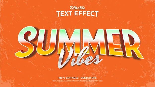 Summer vibes 3d retro style editable text effects