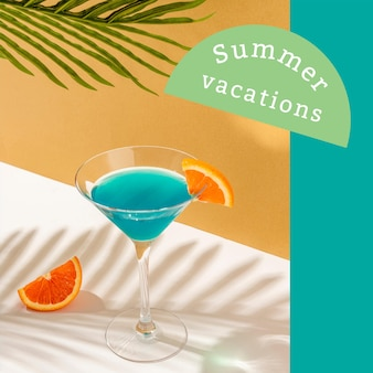 Summer vibes ad template with cocktail