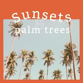 熱帯の背景を持つ夏の雰囲気の広告テンプレート