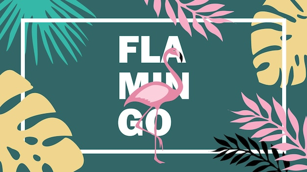 Summer vibes banner with flamingo and tropical leaves
