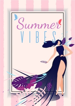 Summer vibes card with cartoon beautiful woman in fashion long dress