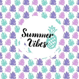 Summer vibes design. vector illustration of nature trendy postcard with calligraphy.