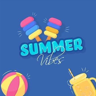 青い背景にアイスクリーム、ビーチボール、水差しのイラストと夏の雰囲気フォント。