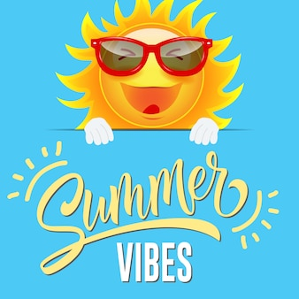 Summer vibes greeting card with joyful cartoon sun in sunglasses on sly blue background.