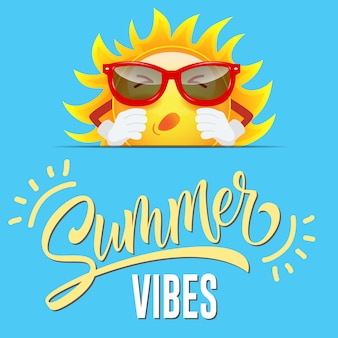Summer vibes greeting with cartoon sun in sunglasses on sly blue background.