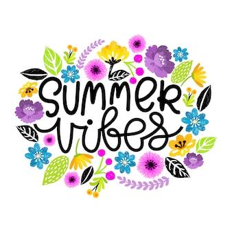 Summer vibes. hand written modern lettering postcard. digital floral illustration.