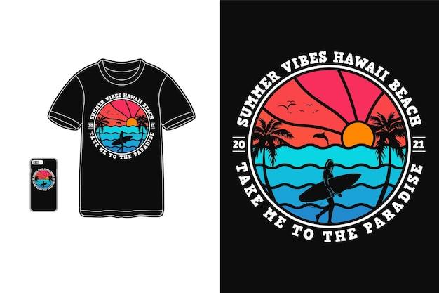Летние флюиды на гавайском пляже, дизайн футболки, силуэт в стиле ретро