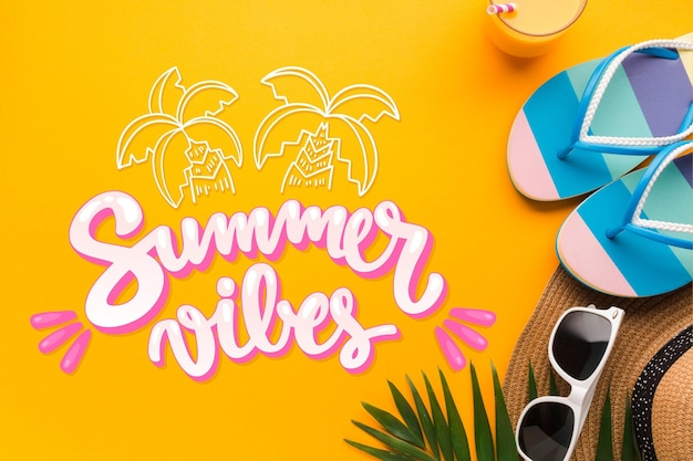 Summer vibes lettering with flip flops