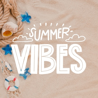 Summer vibes lettering with photo