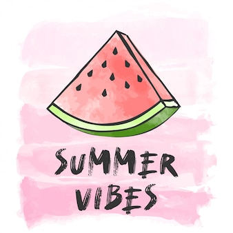 Summer vibes lettering with watermelon