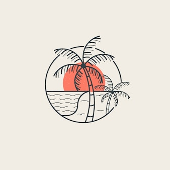 Summer vibes logo template with style lines