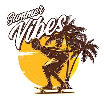 夏の雰囲気のロングボードスケート