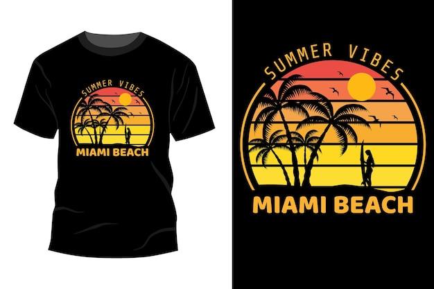夏の雰囲気マイアミビーチtシャツモックアップデザインヴィンテージレトロ