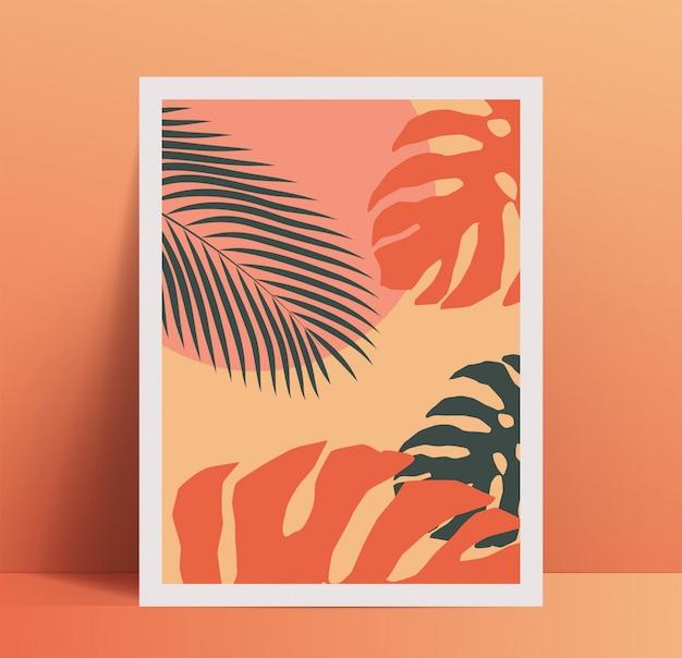 이국적인 열 대 야자수 잎과 유행 파스텔 컬러 팔레트에 기하학적 도형 여름 분위기 최소한의 포스터 현수막 디자인 서식 파일. 삽화