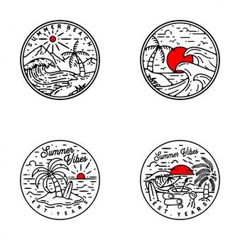 Летние флигели монолин бэдж дизайн