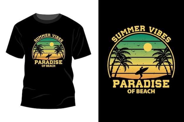 夏の雰囲気の楽園のビーチtシャツモックアップデザインヴィンテージレトロ