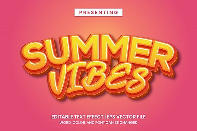 Summer vibes - poster headline editable text effect