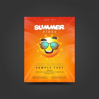 Summer vibes poster with sun in sunglasses