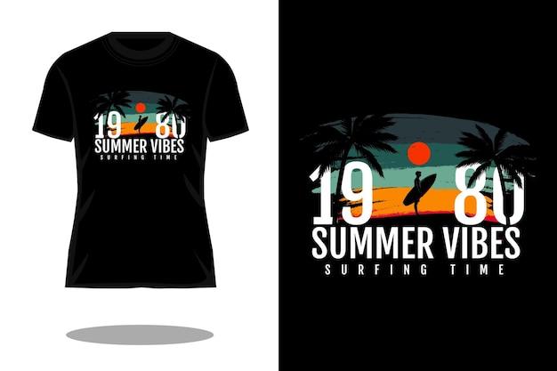 夏の雰囲気のレトロなシルエットのtシャツのデザイン